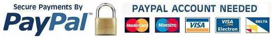 Pay with Paypal or pay with a credit card via paypal - safe and easy and secure.